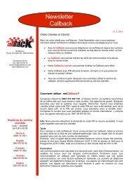 Informations concernant le Callback