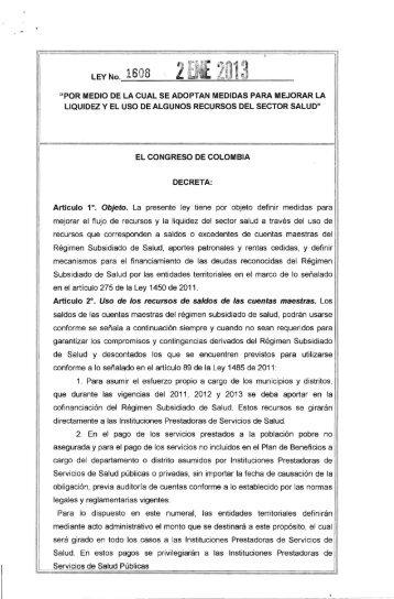 Ley 1608 de 2013 - Presidencia de la República de Colombia