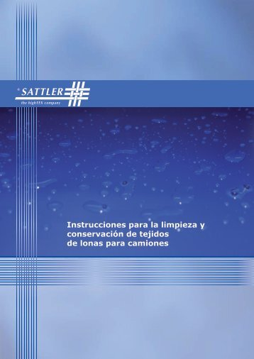 Instrucciones para la limpieza y conservación de tejidos ... - Sattler AG