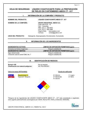 HOJA DE SEGURIDAD: LÍQUIDO COADYUVANTE PARA ... - Abiox