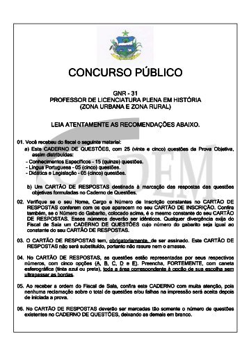 Prova Gabarito GNR 31 - Ordem