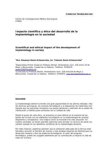 Impacto científico y ético del desarrollo de la ... - SciELO - Infomed