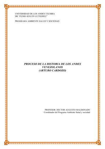 Proceso de La Historia de Los Andes Venezolanos (Arturo Cardozo)