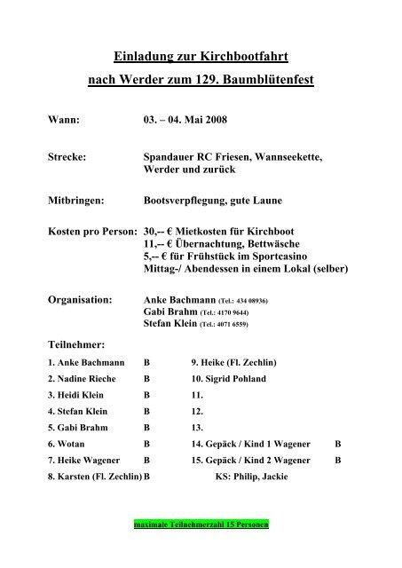 Einladung zur Kirchbootfahrt nach Werder zum 129. Baumblütenfest