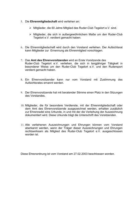 Ehrenordnung - Ruder-Club Tegelort eV Berlin
