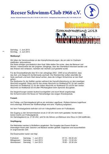 Information Sommermeeting 2013 - Reeser Schwimm-Club 1968 e.V.