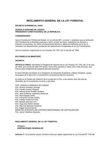 REGLAMENTO GENERAL DE LA LEY FORESTAL - YPFB
