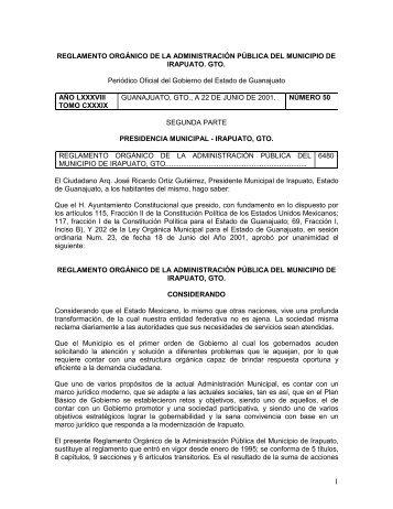 Reglamento Organico de la Administracion del Municipio de ...