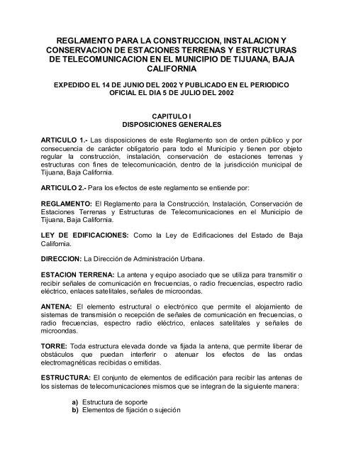 Reglamento Para La Construcción E Instalaciones De Tijuana
