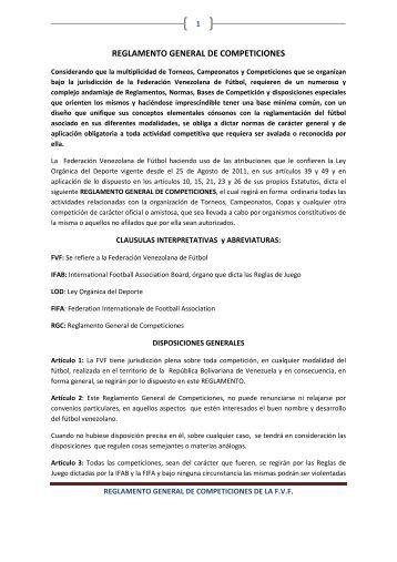 Reglamento Competiciones - Federación Venezolana de Fútbol