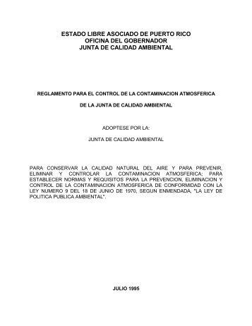 Reglamento para el Control de la Contaminación Atmosférica