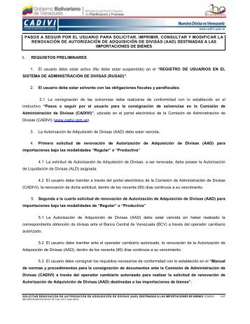 pasos a seguir por el usuario para solicitar, imprimir ... - Cadivi