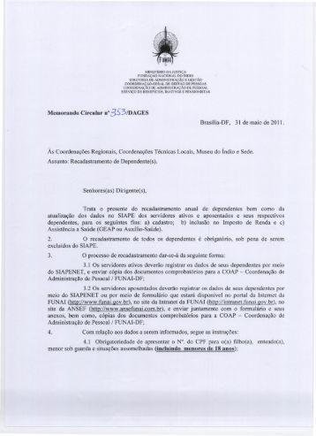 Memo Circular nº 353/DAGES/2011 - Funai