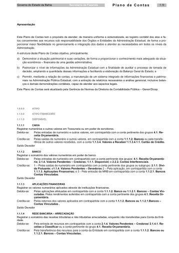 planocontas - Secretaria da Fazenda do Estado da Bahia