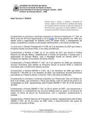 Nota Técnica n° 05/2012 - Secretaria de Saúde do Estado da Bahia