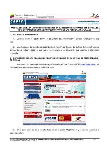 Instructivo Registro y Actual Persona natural - Cadivi