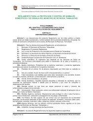 reglamento para la proteccion y control de animales domesticos y de