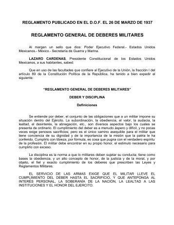 REGLAMENTO GENERAL DE DEBERES MILITARES