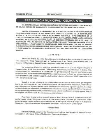 Reglamentos Municipales del Municipio de Celaya, Gto. 1
