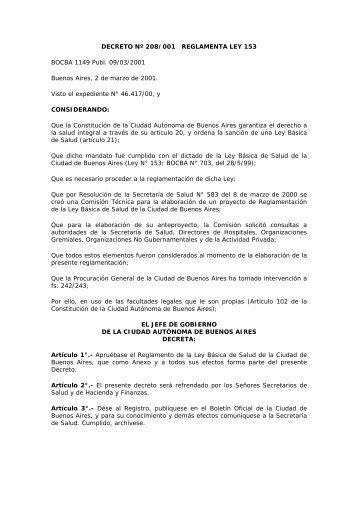 DECRETO Nº 208/001 REGLAMENTA LEY 153