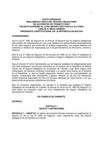TEXTO ORDENADO REGLAMENTO ÚNICO DEL SEGURO ...