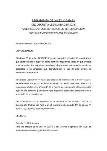 REGLAMENTO DE LA LEY Nº 29245 Y DEL DECRETO ...