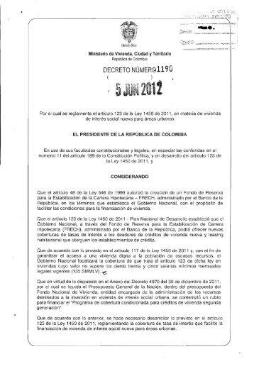 DECRETO NÚMERG1190 - Ministerio de Hacienda y Crédito Público