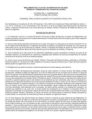 Reglamento de la Ley de los Servicios de Vialidad, Tránsito