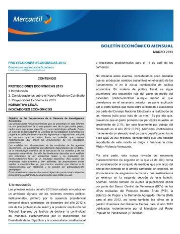 Boletín Económico Marzo 2013 - Banco Mercantil