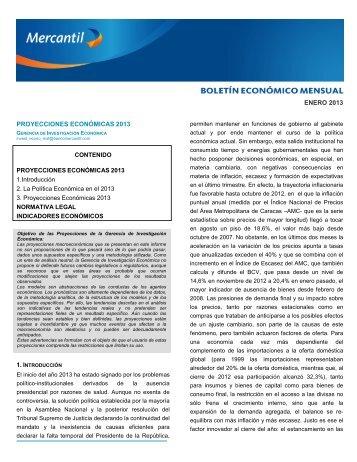 Boletín Económico Enero 2013 - Banco Mercantil