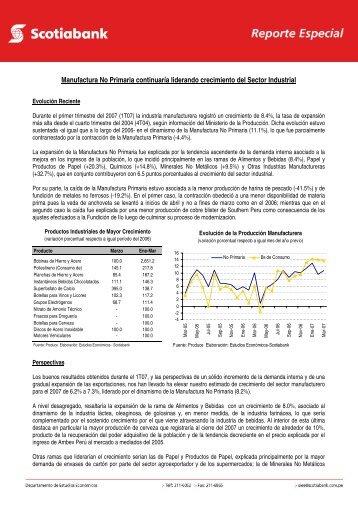 Manufactura No Primaria continuaría liderando ... - Scotiabank