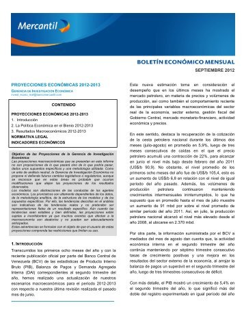 Boletín Económico Septiembre 2012 - Banco Mercantil