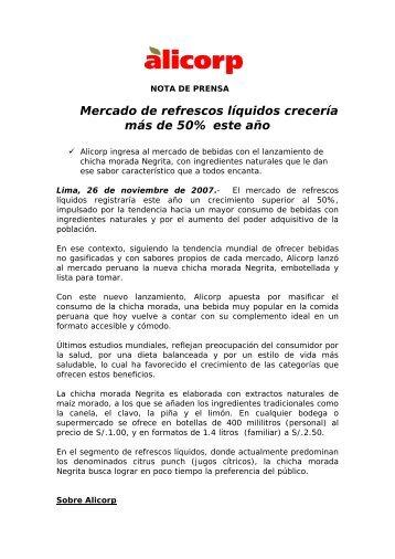 Mercado de refrescos líquidos crecería más de 50% este año - Alicorp