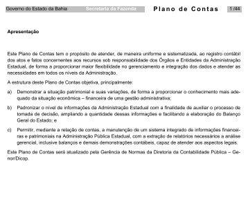 Plano de Contas - Secretaria da Fazenda do Estado da Bahia