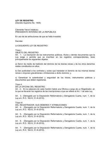 LEY DE REGISTRO - Dirección Nacional de los Espacios Acuáticos