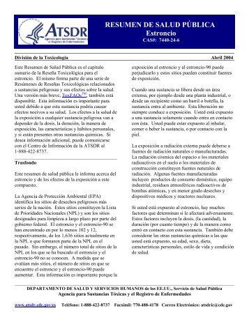 ATSDR - Resumen de Salud Pública: Estroncio