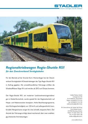 Regionaltriebwagen Regio-Shuttle RS1 für den ... - Stadler