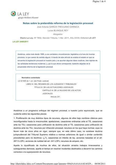 Notas sobre la pretendida reforma de la legislación procesal Página ...