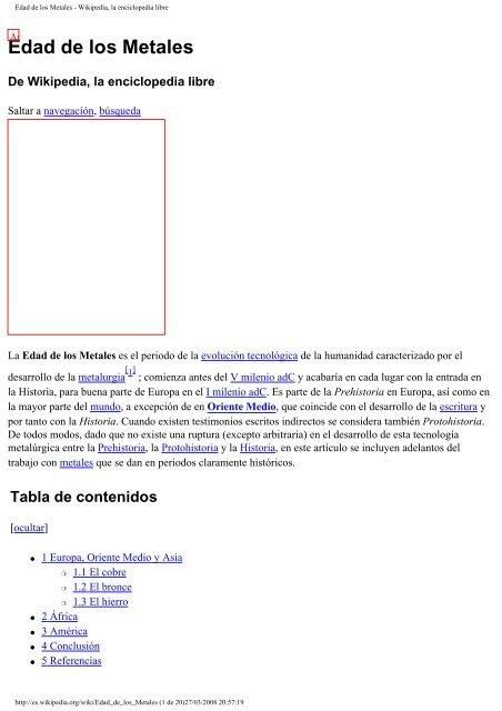 Edad De Los Metales Wikipedia La Enciclopedia Libre