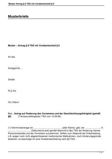 Muster Antrag § 8 TSG mit Vorabentscheid § 9 - Regenbogen HST