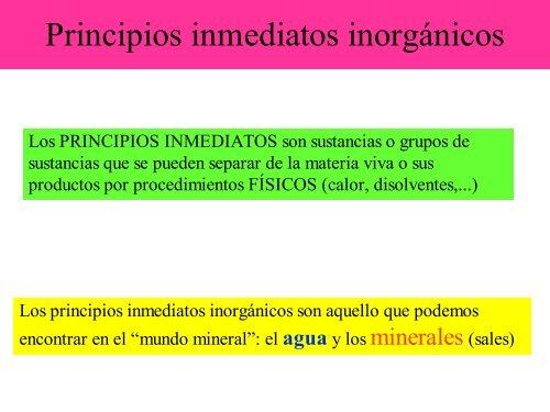 principios inmediatos organicos e inorganicos