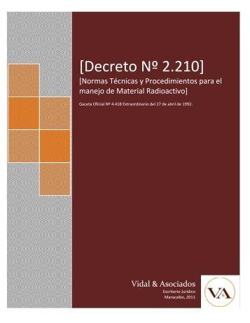 [Decreto Nº 2.210] - Vidal & Asociados
