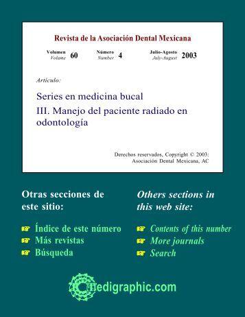 Series en medicina bucal III. Manejo del paciente ... - edigraphic.com