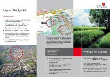 Lage im Stadtgebiet Wohnen am Aubach - Stadt Regensburg