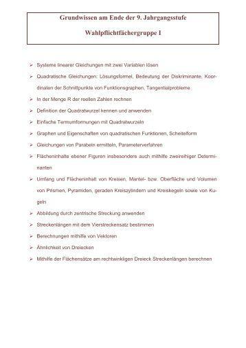 Grundwissen - 9. Klasse