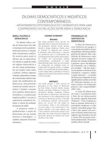Dilemas democráticos e midiáticos contemporâneos - Revista de ...