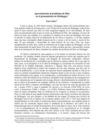 Aproximación al problema de Dios en el pensamiento de Heidegger