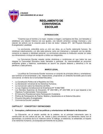 reglamento de convivencia escolar - San Gregorio De La Salle