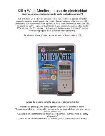 Kill a Watt. Monitor de uso de electricidad