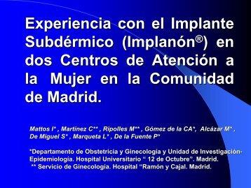Experiencia con el Implante Subdérmico(Implanón) en dos Centros ...
